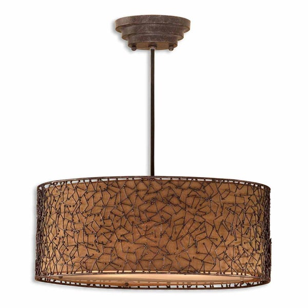 Uttermost Brandon 3-light Distressed Dark Brown Drum Pendant