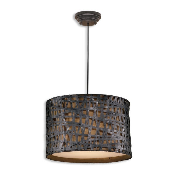 Uttermost Alita 3-light Aged Black Drum Pendant