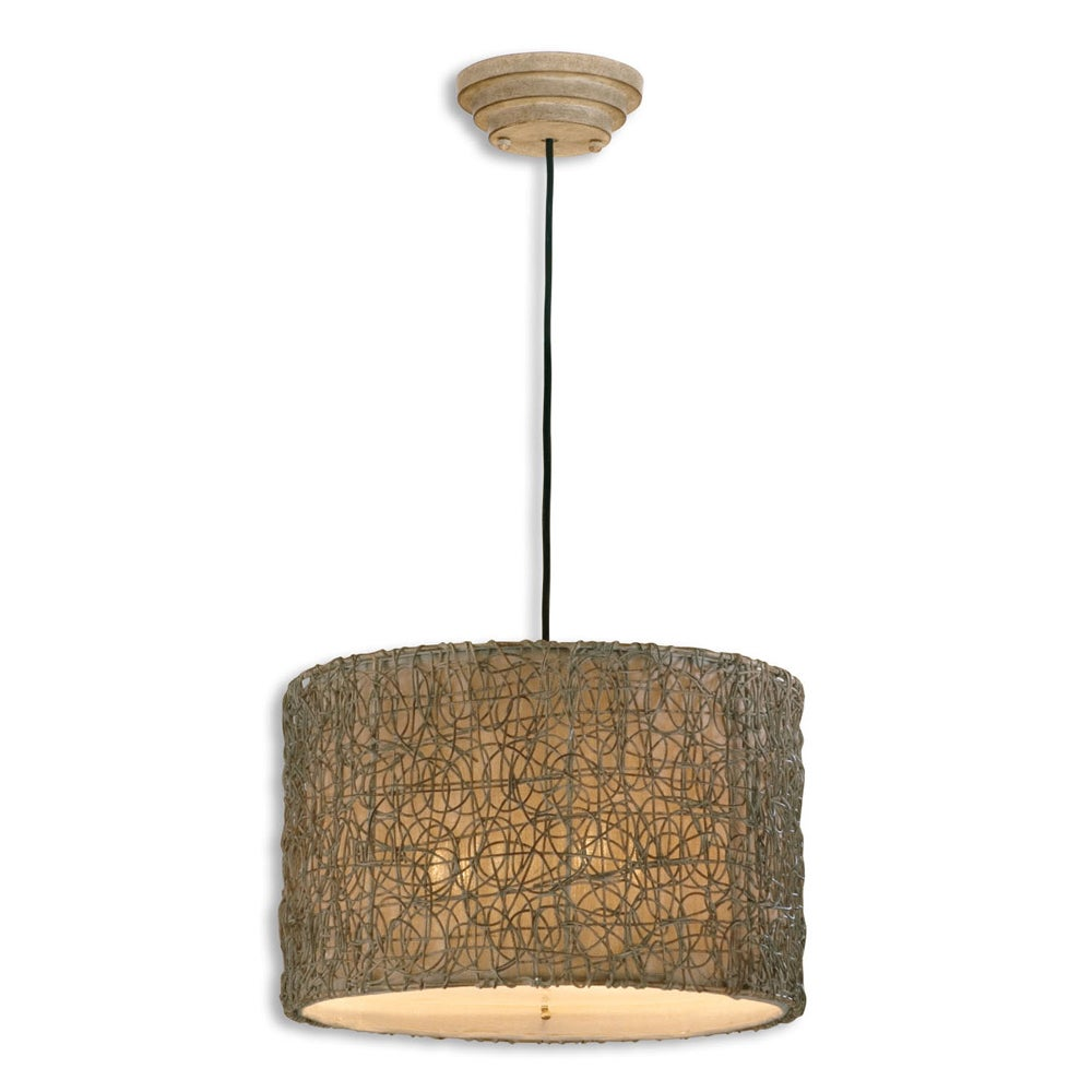 UTTERMOST Knotted Rattan 3-light Hand Rubbed Ivory Drum P...