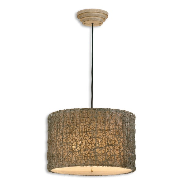 Uttermost Knotted Rattan 3-light Hand Rubbed Ivory Drum Pendant