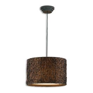 Uttermost Knotted Rattan 3-light Espresso Drum Pendant