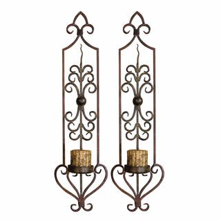 Uttermost Privas Rust and Bronze Wall Sconces (Set of 2)|https://ak1.ostkcdn.com/images/products/7885709/7885709/Privas-Rust-and-Bronze-Wall-Sconces-Set-of-2-P15267880.jpg?impolicy=medium