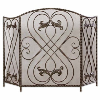 Uttermost Effie Distressed AGed Black Fireplace Screen