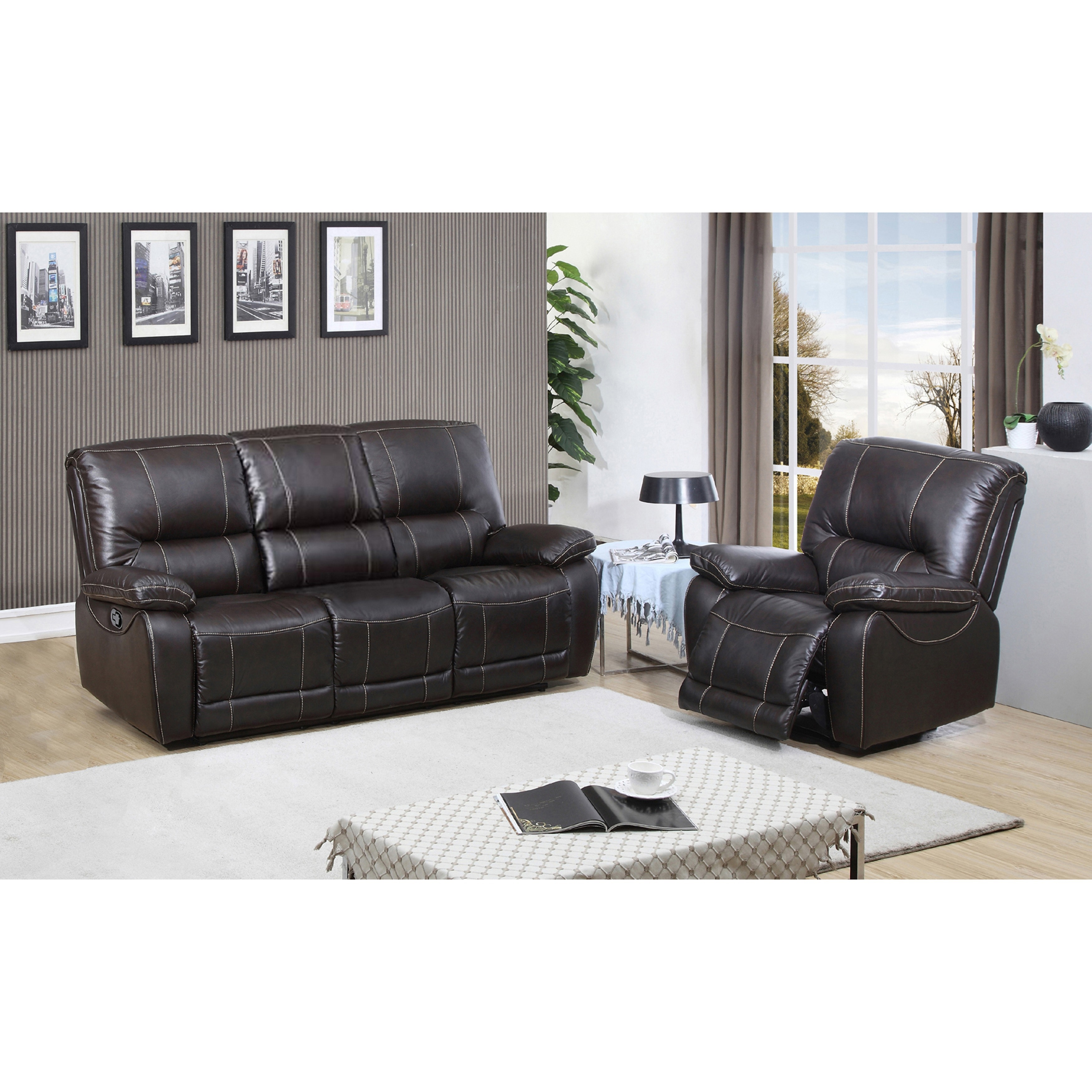 Walton Brown Top Grain Leather Power Reclining Sofa and R...