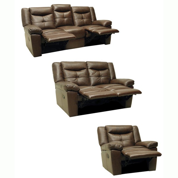 Taylor Brown Leather Reclining Sofa Loveseat And Glider Recliner Free Shipping Today
