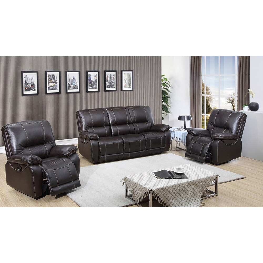 Walton Brown Top Grain Leather Power Reclining Sofa and T...