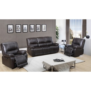 Walton Brown Top Grain Leather Power Reclining Sofa and Two Recliner Chairs