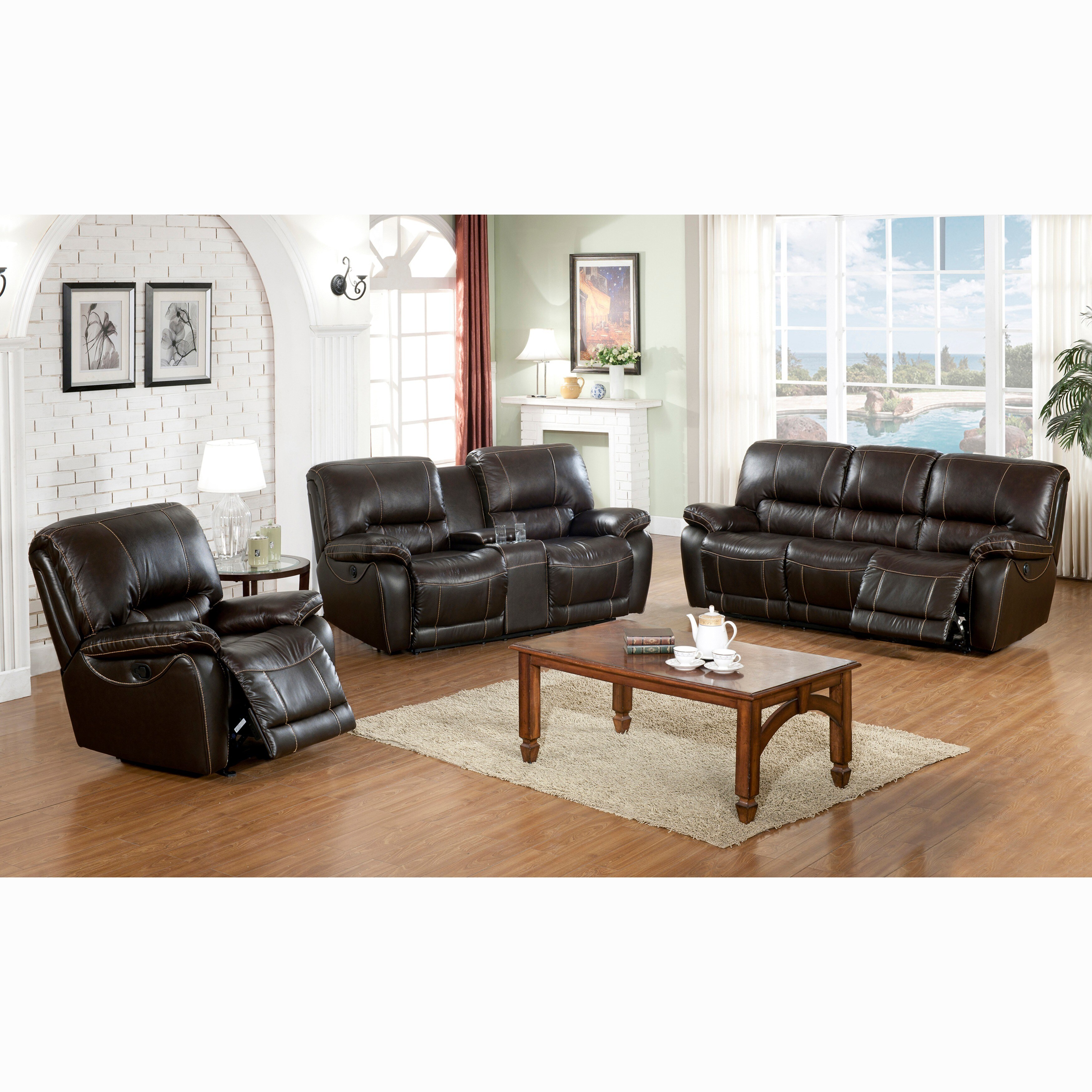 Walton Brown Top Grain Leather Power Reclining Sofa, Love...