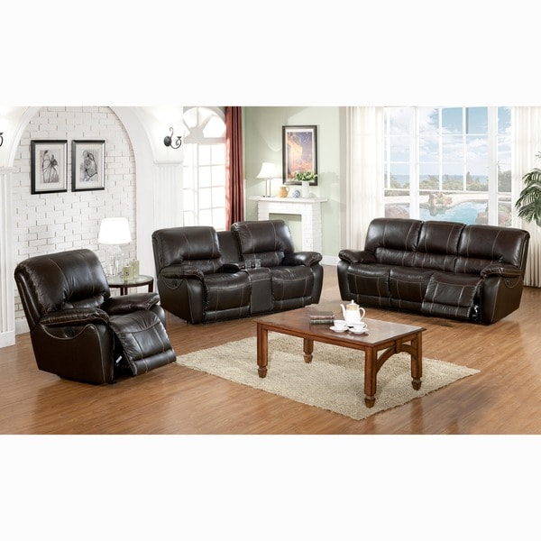 Walton Brown Top Grain Leather Power Reclining Sofa, Loveseat, and Recliner