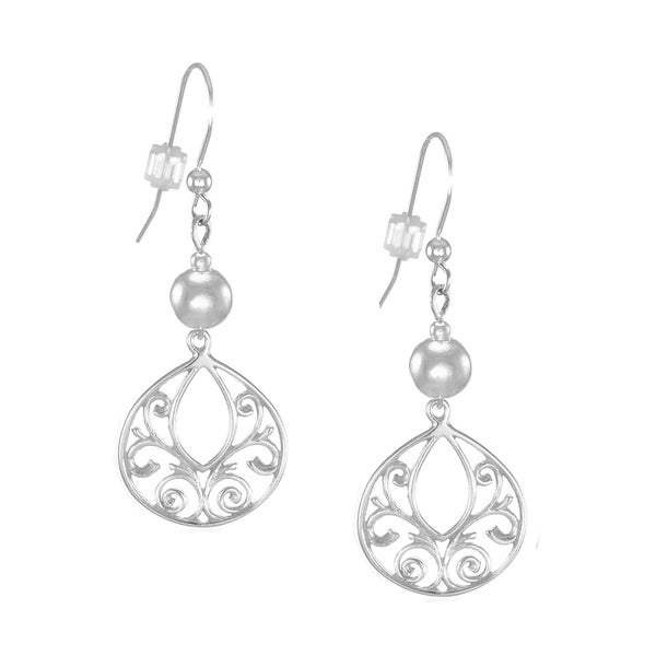 Handmade Jewelry by Dawn Sterling Bead With Fancy Filigree Sterling Silver Earrings (USA)