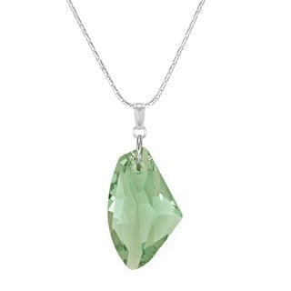 Handmade Jewelry by Dawn Large Green Crystal Galactic Sterling Silver Necklace (USA)