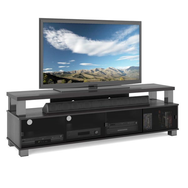 shop two tier tv bench in ravenwood black for tvs up to 80 free shipping today overstock. Black Bedroom Furniture Sets. Home Design Ideas