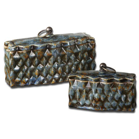 Uttermost Neelab Pale Blue Ceramic Containers (Set of 2)