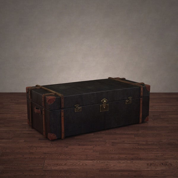 Coffee Table Leather Drawers: Shop Journey Black Croc-embossed Leather Trunk Coffee
