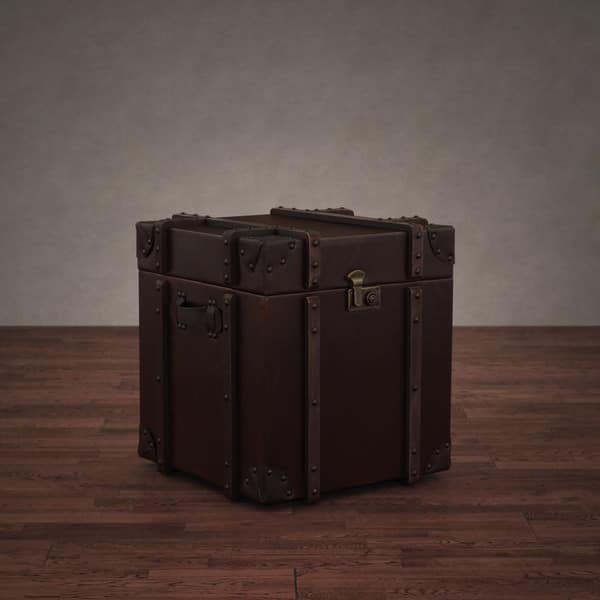 Journey Vintage Leather Trunk Side Table Free