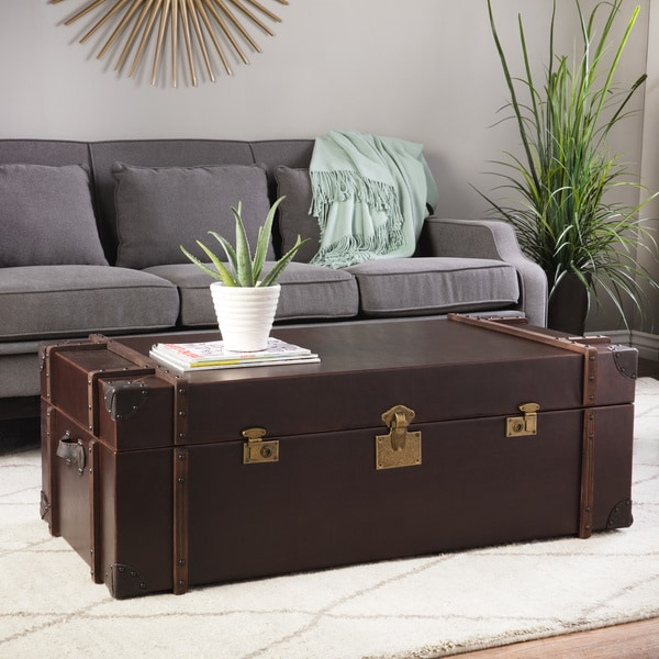 Journey Vintage Tobacco Leather Trunk Coffee Table Free Shipping Today 15267935