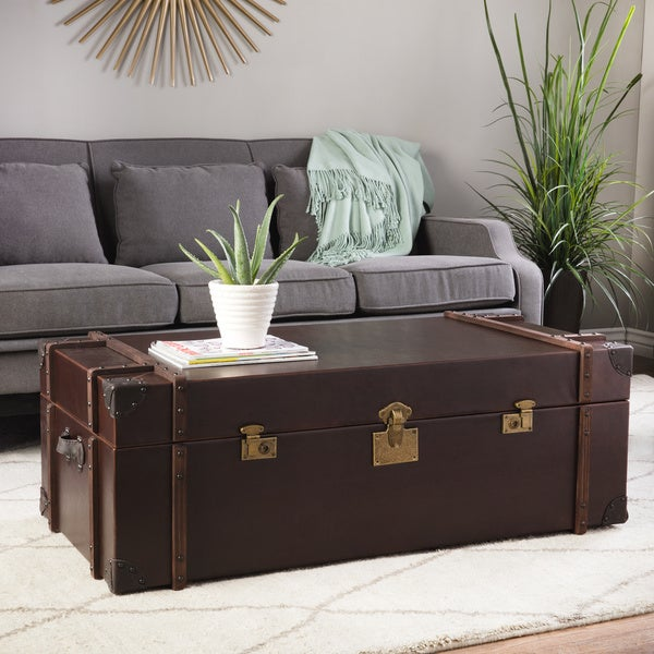 Shop Journey Vintage Tobacco Leather Trunk Coffee Table