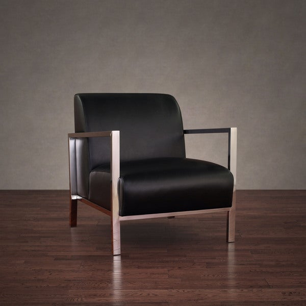 Modena Modern Black Leather Accent Chair - Free Shipping Today ...
