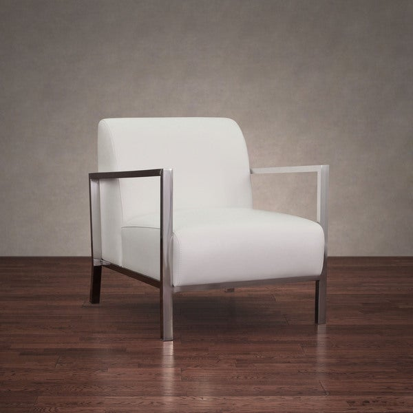 modena modern white leather accent chair - free shipping today