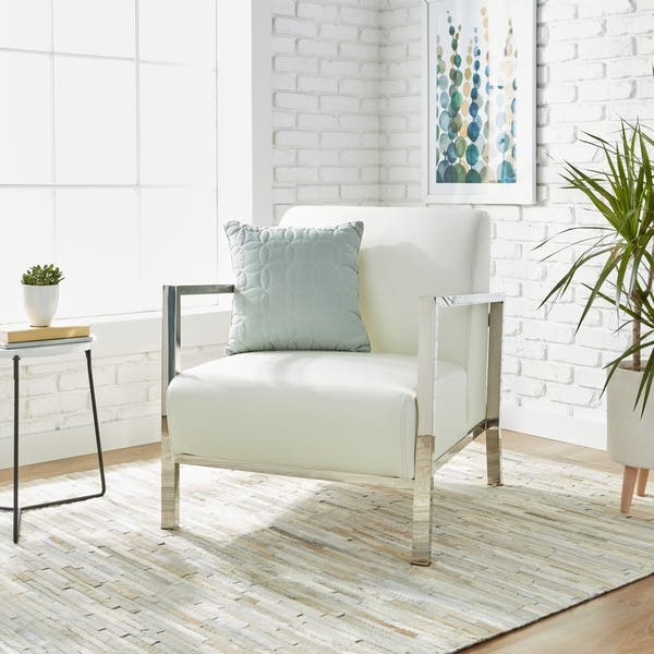 Astounding Shop Strick Bolton Modena Modern White Leather Accent Squirreltailoven Fun Painted Chair Ideas Images Squirreltailovenorg