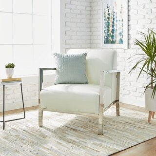 Silver Orchid Lee Modern White Leather Accent Chair