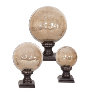 Uttermost Lamya Copper Brown Glass Globe Finials (Set of 3)