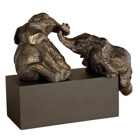 Uttermost Playful Pachyderms Bronze Figurines