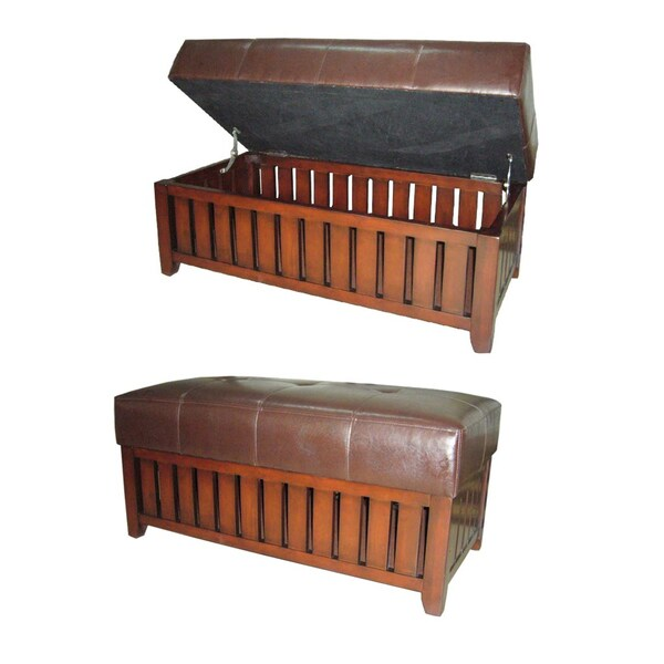 Wood and Brown Synthetic Leather Storage Bench