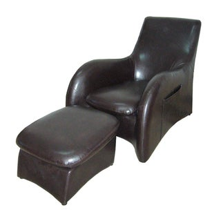 Synthetic Leather Modern Chair and Ottoman Set