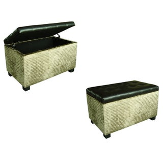 Dark Brown and Wavy Brown Velvet Storage Bench
