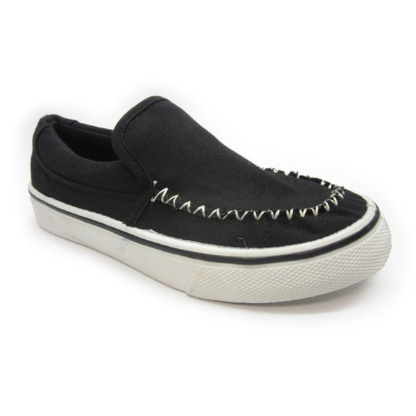 Blue Children's 'I-Brian' Black Canvas Slip-On Sneakers