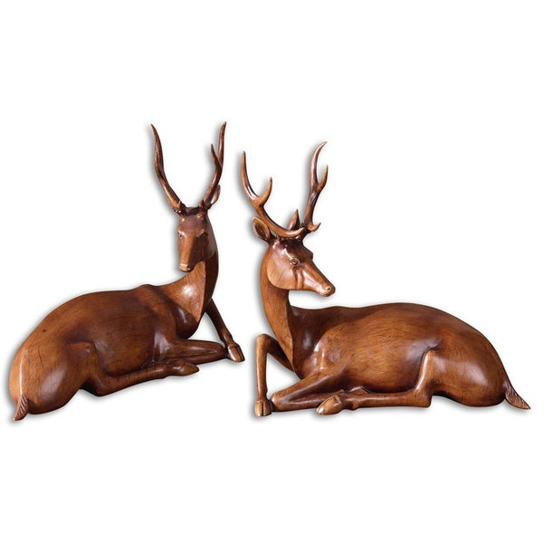Uttermost Buck Wood Tone Statues (Set of 2)
