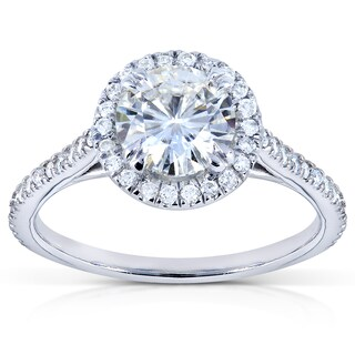Annello 14k White Gold Moissanite (HI) and 1/4ct TDW Diamond Halo Engagement Ring (G-H, I1-I2) (More options available)