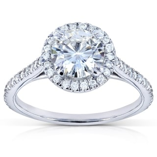 Annello 14k White Gold Moissanite and 1/4ct TDW Round Diamond Engagement Ring (G-H, I1-I2)