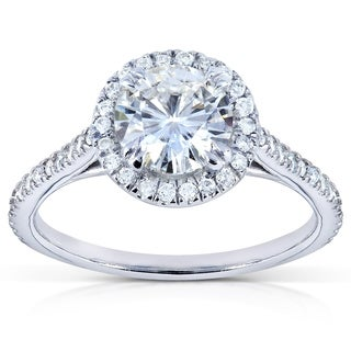 Annello 14k White Gold Moissanite (HI) and 1/4ct TDW Diamond Halo Engagement Ring (G-H, I1-I2)