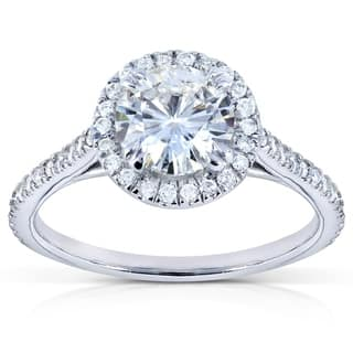 Annello 14k White Gold Moissanite (HI) and 1/4ct TDW Diamond Halo Engagement Ring (G-H, I1-I2)|https://ak1.ostkcdn.com/images/products/7885863/P15267995.jpg?impolicy=medium