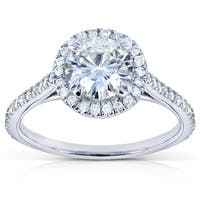 Annello by Kobelli 14k White Gold 1 1/4ct TGW Moissanite and Diamond Halo Engagement Ring