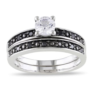 Miadora Sterling Silver Created White Sapphire and 1/5ct TDW Black Diamond Bridal Ring Set