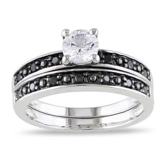 Miadora Sterling Silver Created White Sapphire and 1/5ct TDW Black Diamond Bridal Ring Set|https://ak1.ostkcdn.com/images/products/7885874/P15267996.jpg?impolicy=medium