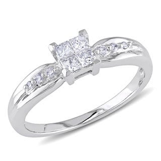 Miadora 10k White Gold 1/4ct TDW Invisible Princess-cut Quad and Round Diamond Engagement Ring (G-H, I2-I3)