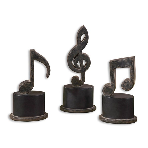 Uttermost Music Notes Aged Black Metal Figurines (Set of 3)