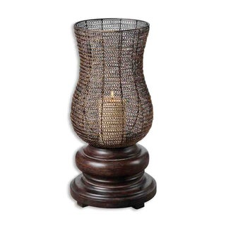 Uttermost Rickma Distressed Chestnut Brown Candleholder