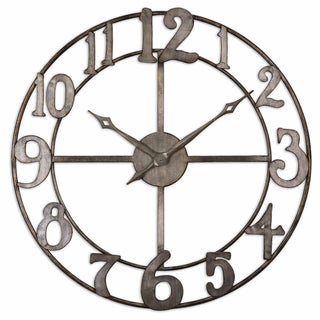 Uttermost Delevan 32-inch Antiqued Silver Leaf Metal Wall Clock