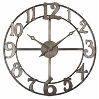 Uttermost Delevan 32-inch Antiqued Silver Leaf Metal Wall Clock
