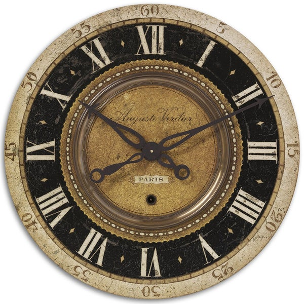Uttermost Auguste Verdier 27-inch Antiqued Brass Wall Clock