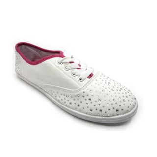 Blue Women's 'Riley' White Studded Flat Canvas Shoes