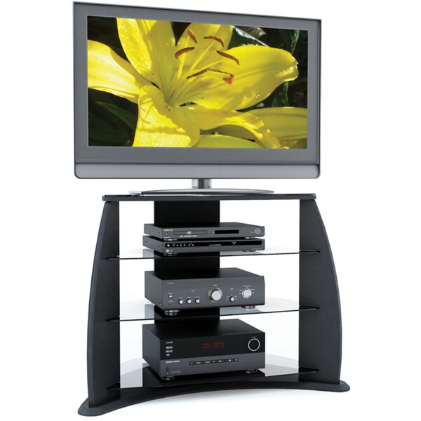 Shop Sonax Florence 34 Inch Midnight Black Tv Stand With Glass
