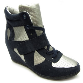 Blue Women's 'Ryker' Navy/Cream Wedge Sneakers