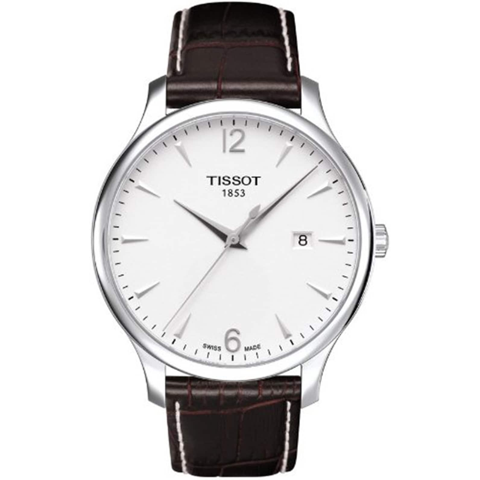 Tissot Men's Brown Leather Swiss Quartz Watch (T063.610.1...