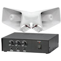 Pyle KTPMSA20H 50 Watt PA Power Amplifier W/ Pair of 8'' Indoor / Outdoor 65 Watt PA Horn Speakers